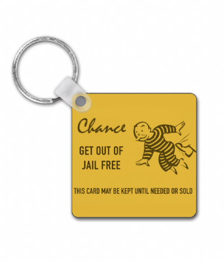 Square Keyring Inspired by Monopoly Chance Card Get Out of Jail Free